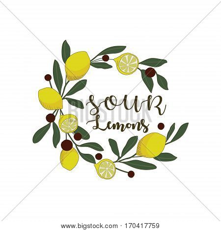 Sour lemons hand drawn. Juicy yellow lemons with leaves isolated