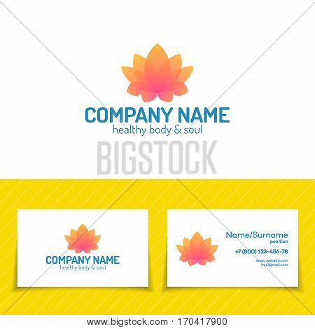 Logo template set consisting of flower lotus for use yoga studio, school, center, meditation class, spa. Health care, sport, fitness logo design elements. Vector Illustration