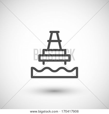 Offshore oil platform line icon isolated on grey. Vector illustration