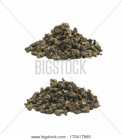 Pile of dried tea leaves isolated over the white background, set of two different foreshortenings