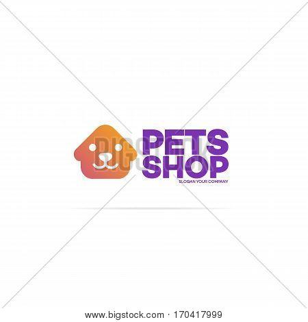 Pets shop logo for used for corporate identity pets home, store, animals veterinary clinic and homeless animals shelters. Vector Illustration