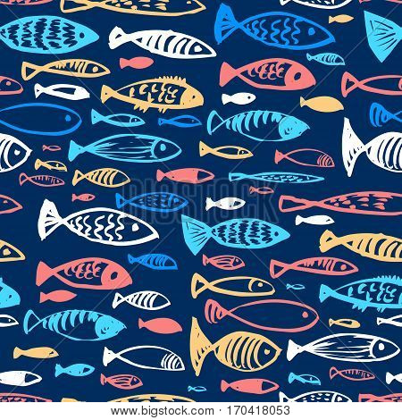 Hand drawn seamless pattern with doodle fishes. Ink illustration of underwater life in artistic incomplete style. Design for textile and wrapping backgrounds