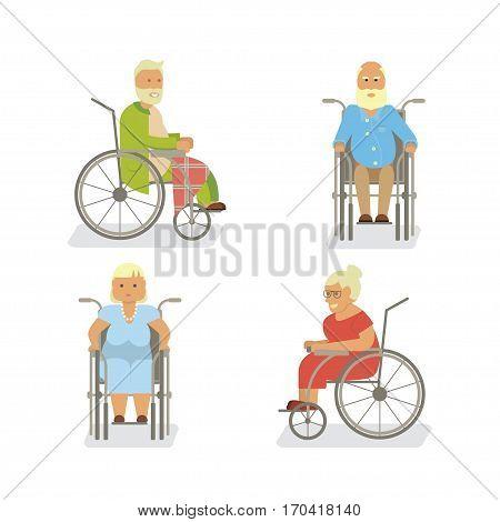 Banner of Retired elderly senior age couple in flat character design. Grandparents on invalid chair isolated. Vector illustration eps10.