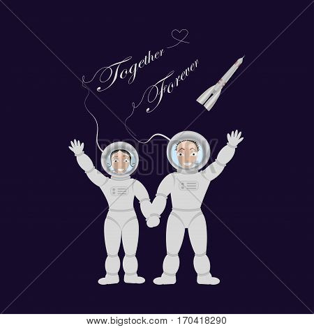 Pair of lovers astronauts in open space In weightlessness. Vector illustration eps 10