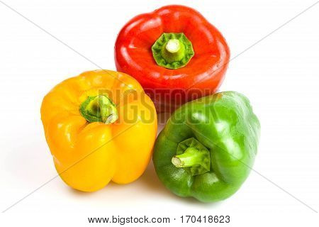 Sweet pepper red green and yellow isolated on white background