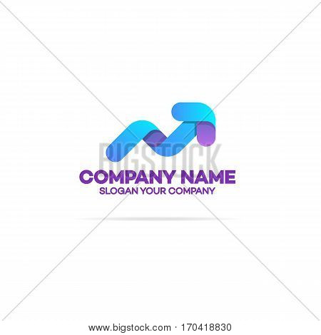 Progress logo with arrow up for growing success business company identity isolated on white background. Modern glossy growth graph symbol. Vector Illustration