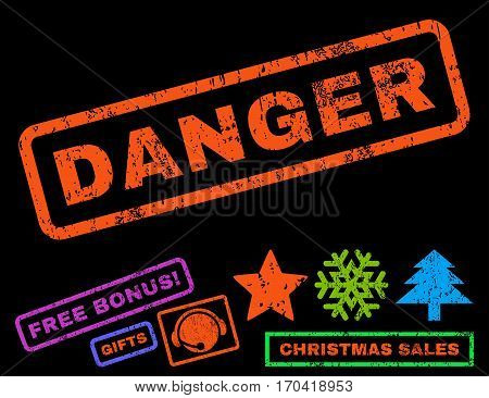 Danger text rubber seal stamp watermark with bonus christmas symbols. Caption inside rectangular shape with grunge design and dirty texture.