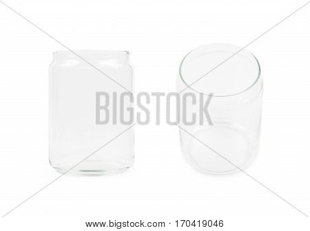 Empty glass kitchen jar isolated over the white background, set of two different foreshortenings