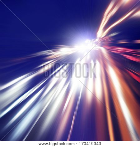 Abstract image of night traffic on the road. Motion blur.