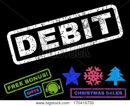 Debit text rubber seal stamp watermark with additional bonus christmas symbols. Tag inside rectangular shape with grunge design and unclean texture.