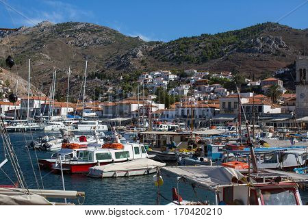 Boat Marina on the Hydra island, Aegean sea, Greece.