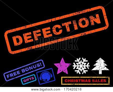 Defection text rubber seal stamp watermark with bonus new year symbols. Tag inside rectangular banner with grunge design and dust texture.