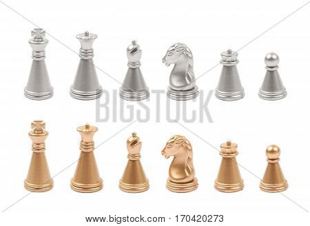 Full set of silver and golden chess figures isolated over the white background
