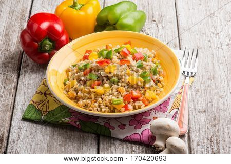 risotto with capsicum and champignon mushroom