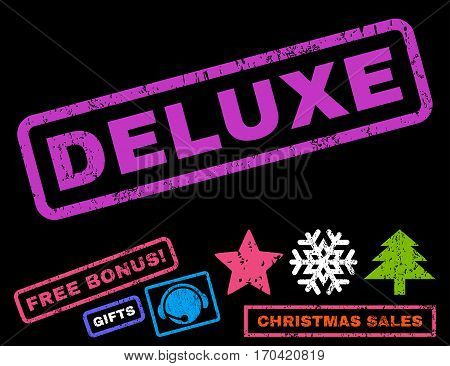 Deluxe text rubber seal stamp watermark with bonus christmas symbols. Caption inside rectangular banner with grunge design and unclean texture.
