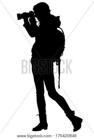 Woman with a camera on white background