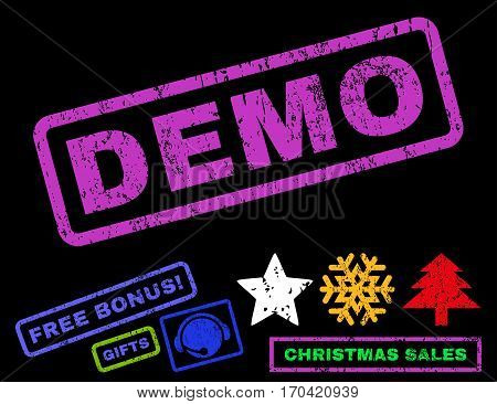Demo text rubber seal stamp watermark with bonus new year symbols. Caption inside rectangular banner with grunge design and unclean texture.