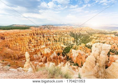 Panoramic top view on Bryce Canyon National Park