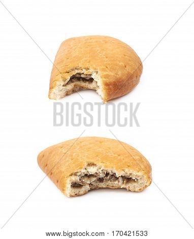 Meat pie with a bite taken of it isolated over the white background, set of two different foreshortenings