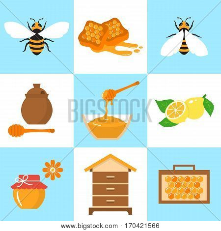 Honey vector flat icons set with honeybee, beehive, jar, honeycomb, lemon and dipper stick,