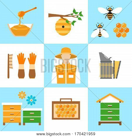 Beekeeping honey vector flat icons set with apiculture equipment, beekeeper, smoker, beehive, bee, honeycomb, jar and dipper stick isolated.