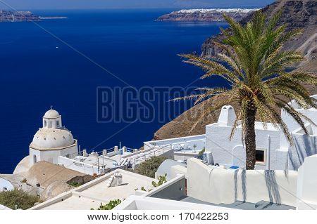 Luxury decks and patios of Fira, Santorini, Greece