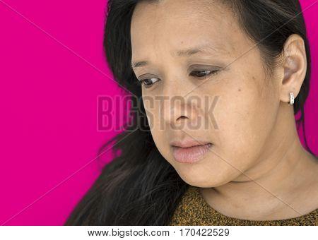 Black Hair Woman Bad Feeling Studio Portrait