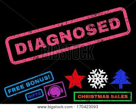 Diagnosed text rubber seal stamp watermark with bonus christmas symbols. Tag inside rectangular shape with grunge design and scratched texture.