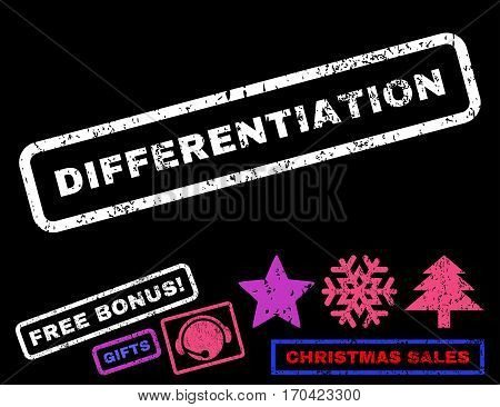 Differentiation text rubber seal stamp watermark with bonus new year symbols. Caption inside rectangular shape with grunge design and scratched texture.