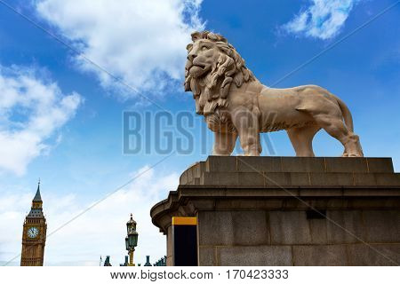 London south Bank Lion and Big Ben statue near Thames River