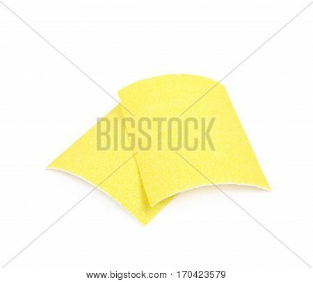Piece of a sandpaper emery paper sheet, composition isolated over the white background poster