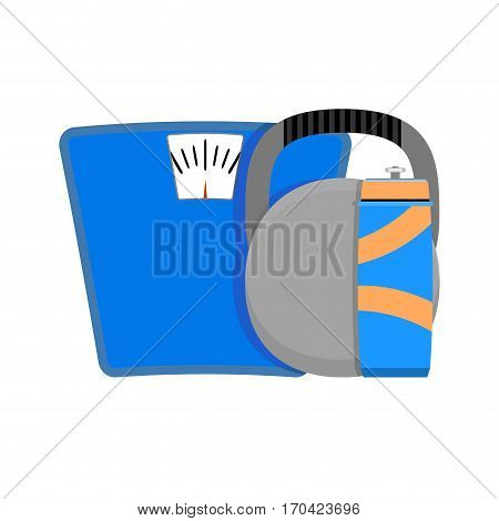 Losing and weighting vector. Barbell and drink beverage illustration