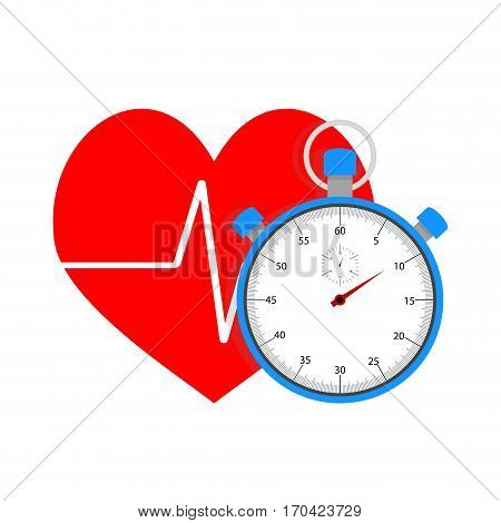 Measure pulse of stopwatch. Time and sport heart beat after workout vector illustration