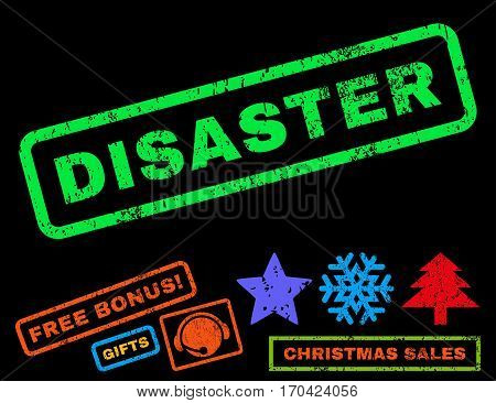 Disaster text rubber seal stamp watermark with additional bonus christmas symbols. Caption inside rectangular banner with grunge design and unclean texture.
