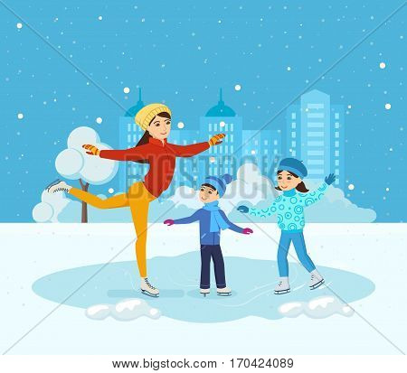 Kids favorite winter activities. Boy with the girl in winter clothes, ride on the ice in a good mood. Next to them, Mom shows master class. Vector illustration. Can be used in banner, mobile app.