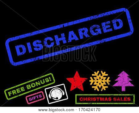 Discharged text rubber seal stamp watermark with additional bonus christmas symbols. Caption inside rectangular banner with grunge design and unclean texture.