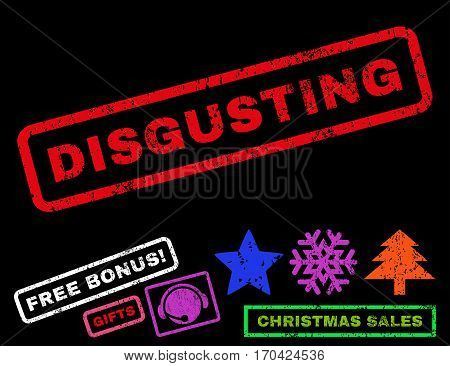 Disgusting text rubber seal stamp watermark with additional bonus christmas symbols. Caption inside rectangular shape with grunge design and unclean texture.