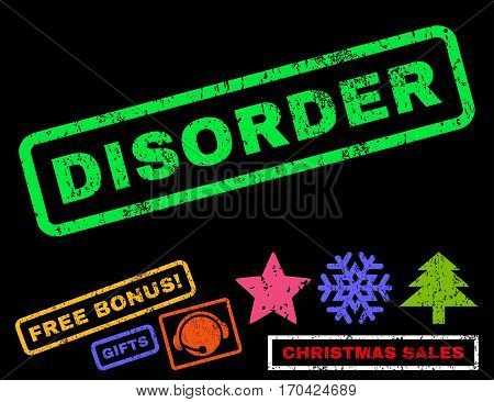 Disorder text rubber seal stamp watermark with bonus new year symbols. Tag inside rectangular shape with grunge design and dust texture.