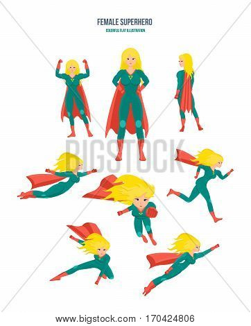 Set of female superhero in 9 different situations and poses. Longhaired superwoman actions set in cartoon colored style in costume. Colorful flat illustration.