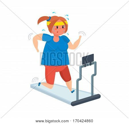 Fitness classes concept. Full girl goes in for sports, moving on a treadmill, shedding excess weight and strengthen their health. Can be used in banner, mobile app, design.