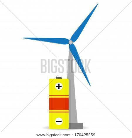 Accumulation wind energy. Efficiency energy electricity power from wind mill illustration vector