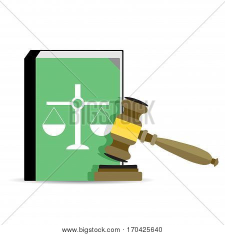 Court and law. Legal judgment gavel and constitution. Vector illustration