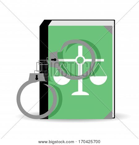 Trial verdict. Constitution and handcuffs verdict and law vector illustration