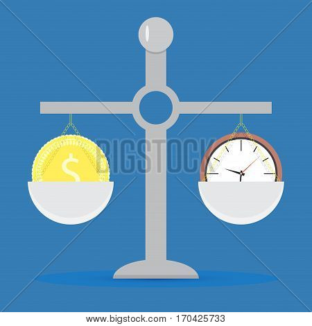 Time and money on scale. Balance clock and finance concept vector illustration