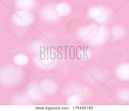 Pale pink background with hearts and blurred pattern.Light backdrop