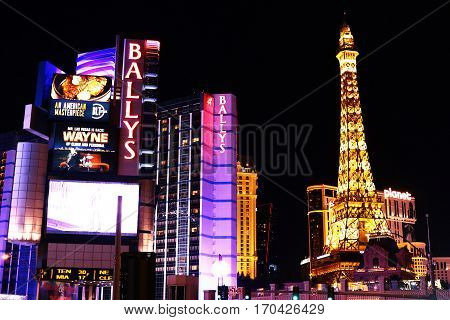 Las Vegas, USA - October 10, 2016: Bally's Las Vegas, formerly the MGM Grand Hotel and Casino, is a hotel and casino on the Las Vegas Strip in Paradise, Nevada, USA