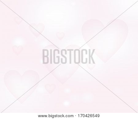 Light blur backdrop. Pale pink background with hearts. The Theme of love and Valentines day.