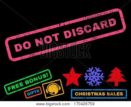Do Not Discard text rubber seal stamp watermark with bonus christmas symbols. Tag inside rectangular shape with grunge design and dirty texture.