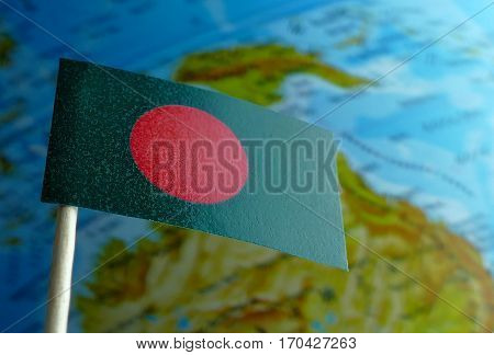 Bangladesh Flag With A Globe Map As A Background Macro