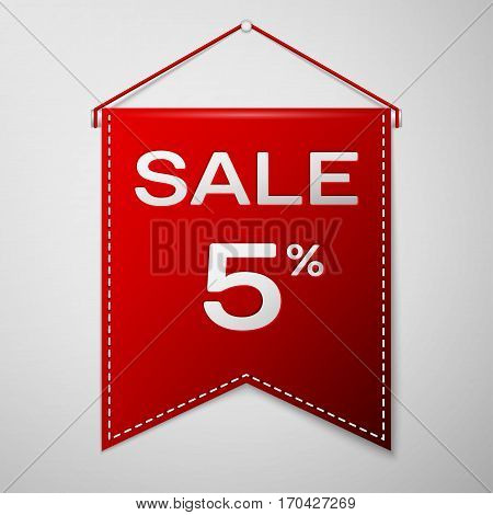 Red pennant with inscription sale five percent Discounts over a grey background. Sale concept for shops store market, web and other commerce. Vector illustration.